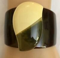 Ooak Lucite & Bakelite Cuff Bracelet Cream, Apple Juice & Brown