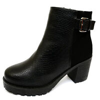 LADIES BLACK CHUNKY ZIP-UP ANKLE BIKER CALF BOOTS SMART WORK SHOES SIZES 3-8