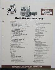 1982 Mack Trucks Model MC 600S Diagrams Dimensions Sales Brochure Original