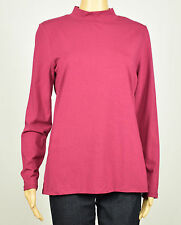 Tommy Hilfiger Womens Red Plum Mock Neck Solid Top L