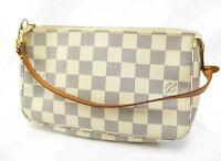 Authentic LOUIS VUITTON Damier Azur Pochette Accessoires Pouch N41207