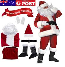 DELUXE 7 PIECE SANTA CLAUS SUIT PLUSH FATHER CHRISTMAS COSTUME XMAS FANCY DRESS%