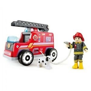 HAPE Wooden Fire Engine Playset with Working Ladder, Fireman and Dog