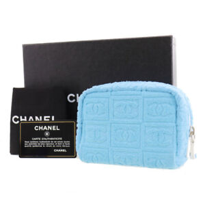 CHANEL CC Logos Mini Pouch Light blue Pile Vintage Italy Authentic #AD186 Y