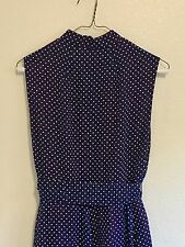 VINTAGE 1950s 60s I. MAGNIN  Dress Belt Size 12 Blue White Polka Dot Style 9689