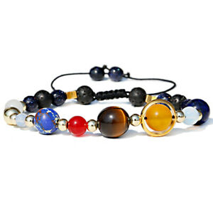 Solar System Universe Planets Guardian Star Natural Stone Beads Bracelet Bangle