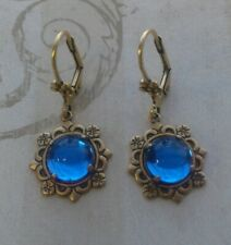 Sapphire Earrings w/Prong and Leverback Victorian Vintage Style Handmade 9mm