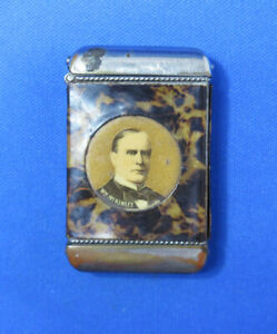 President Wm. McKinley match safe, celluloid wrap, political, c. 1900