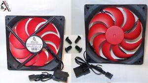 PC Gehäuse Lüfter 12cm 120mm 120x120x25mm DC 12V sehr leiser Kühler Black/Rot