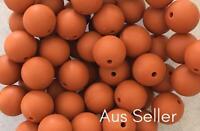 10 silicone TAN 15mm beads round BPA free baby teething nursing brown orange DIY