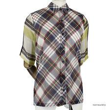 Dries Van Noten Navy Red Yellow Tartan Fine Cotton Semi-Sheer Shirt FR40 UK12