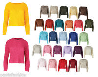 New Ladies Long Sleeve Knitted Cropped Jumper Sweater Top UK Size 8-14