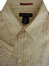 Calvin KLEIN Camicia Da Uomo 17 L Crema-Multi Strisce Manica Corta