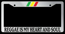"Chrome License Plate Frame ""Reggae is my Heart & Soul Bob Marley"" Auto Accessory"