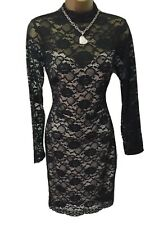Lipsy Bodycon Dress 10 Black Nude Lace High Neck Long Sleeve Party Wedding
