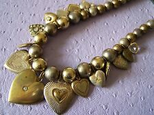 Vintage Gold & Silver TONIC 15 Heart Charm & Locket Beaded Artisan Necklace