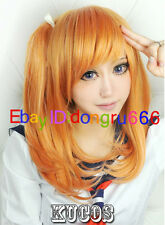 Love Live! Kousaka Honoka Orange styled cosplay wig with a ponytail+Fee wig cap
