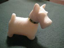 Avon vintage milk glass w/perfume bottle scotty terrier white dog w/gold collar