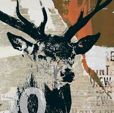Gery Luger: Rotwild I Fertig-Bild 30x30 Hirsch Geweih Waldtiere Kult modern