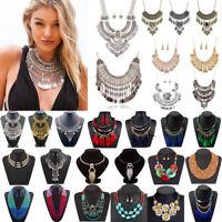 Women Fashion Bohemia Pendant Choker Chunky Chain Bib Necklace Statement Jewelry