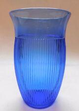 "HAZEL ATLAS FINE RIB COBALT  ICE TEA TUMBLER GLASS 5"" PERFECT CONDITION"