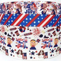 """Grosgrain Ribbon 7/8"""" 5 Yard 4th of July mixed lot D Printed USA SELLER"""