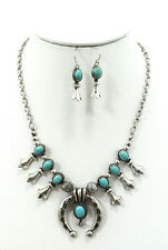 ICON Western Cowgirl Blue Turquoise Squash Blossom Necklace & Earrings Set