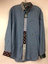 Vtg Tommy Hilfiger Mens Medium Patchwork Placket Cuff Collar Button Long Sleeve