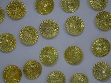 Vtg Gold Rounded Shank Buttons with Raised Floral Design 35mm Lot of 8 B95-6