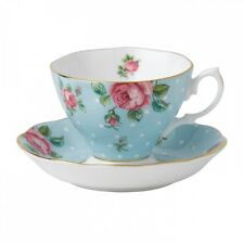 Beautiful Royal Albert Old Country Roses OCR Cup & Saucer Polka Blue Vintage New