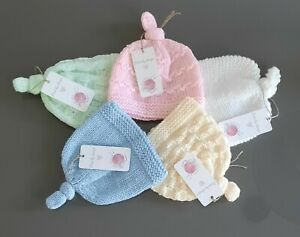 Gorgeous Hand Knitted Newborn Baby Hats 0 - 3 months.