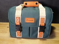 Canon Camera Carrying Case Bag Oversized Large Green Canvas Leather Trim Fanny