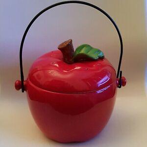 Large Vintage Ceramic Red Apple Shaped Storage Pot/Jar With Lid And Handle