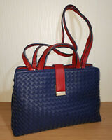Fiorelli Faux Leather Lattice Fronted Handbag Handles and Straps Blue/Red