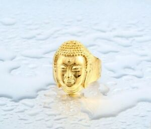 Mens Gold Buddha Stainless Steel Jewelry Ring Unique Buddhist Zen Ring for Men