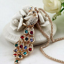Women's Colorful Crystal Rhinestone Bead Peacock Pendant Chain Sweater Necklace