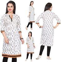 Women Indian Kurti Tunic Kurta Shirt Dress Top Printed Cotton 3/4 Sleeves MM30