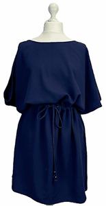 Mary Portas Navy Shirt Tie Waist Dress Oversized Size 16 Casual Work Layering
