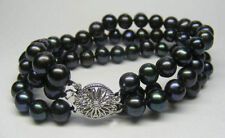 Fashion 3Rows 8-9mm Natural Black Akoya Cultured Pearl Hand Knotted Bracelet