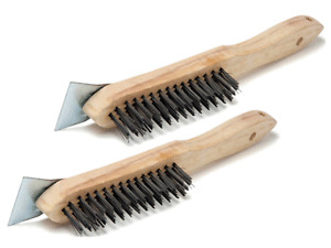 2x STEEL WIRE BRUSH WITH SCRAPER FILLER BBQ GRILL OVEN CLEANING CT2804