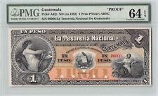 Guatemala, Tes. Nacional ND (1882) P-A4fp PMG Choice UNC 64 EPQ 1 Peso*Proof*