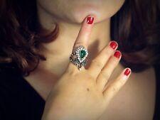 Anillo Dorado Art Deco Hoja Verde Esmeralda Gris Mini Perla Blanco Retro T53 S7