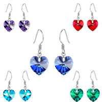 Red Blue Green Purple Romantic Hearts Drop Dangle Silver Plated Women Earrings