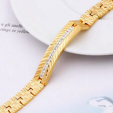 Thick 18k Yellow Gold GF Men's ID Cuff Austrian Crystals Solid Bracelet Chain