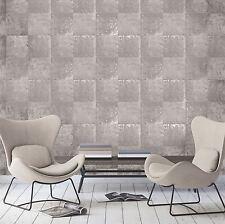 NUOVO Pannello Di Metallo Metallico Argento Taupe Carta Da Parati Modern Wall Decor Parete Caratteristica