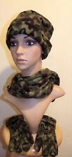 Ladies 3 Pc.Fleece Military  Camouflage Style Hat , Scarf And Glove Set