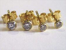Damen Set 2 Paar Ohrstecker 925 Silber Gold Vergoldet Ohrringe mit Zirkonia