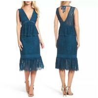 Foxiedox Emilia Lace Peplum Midi Dress in Teal Size M $222
