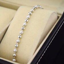 "18k White Gold Filled Bracelet 8""Chain Link 3mm Beads Dangle GF Wedding Jewelry"