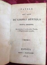 Libro Antico Favole Abate Aurelio de' Giorgi Bertola Corretta e Accresciuta 1817